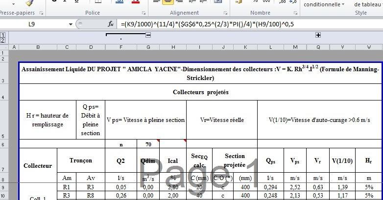 Travaux publics fichier excel calcul d bit et for Assainissement cours pdf