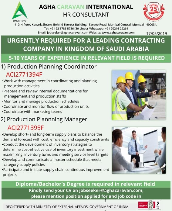 Urgebtly required for a leading contracting Compnay in Saudi Arabia