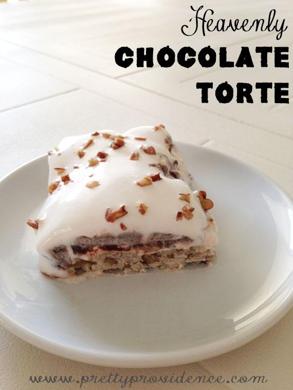 Amazingly yummy chocolate torte recipe from the girls at www.prettyprovidence.com