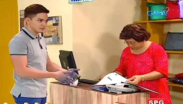 Alden Richards with Aling Mary of Bubble Gang