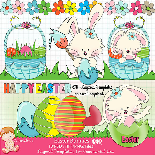 Easter Bunnies PSD Layered Template /Free Pattern Paper