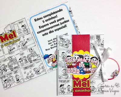 convite artesanal aniversário infantil personalizado turma da mônica monica quadrinhos gibi festa criança 5 aninhos menina colorido scrapfesta scrap scrapbook papelaria personalizada convite diferente