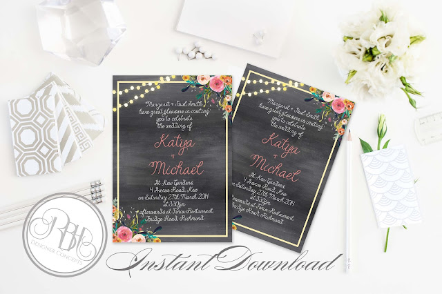 watercolour wedding invitation by rbhdesignerconcepts.com