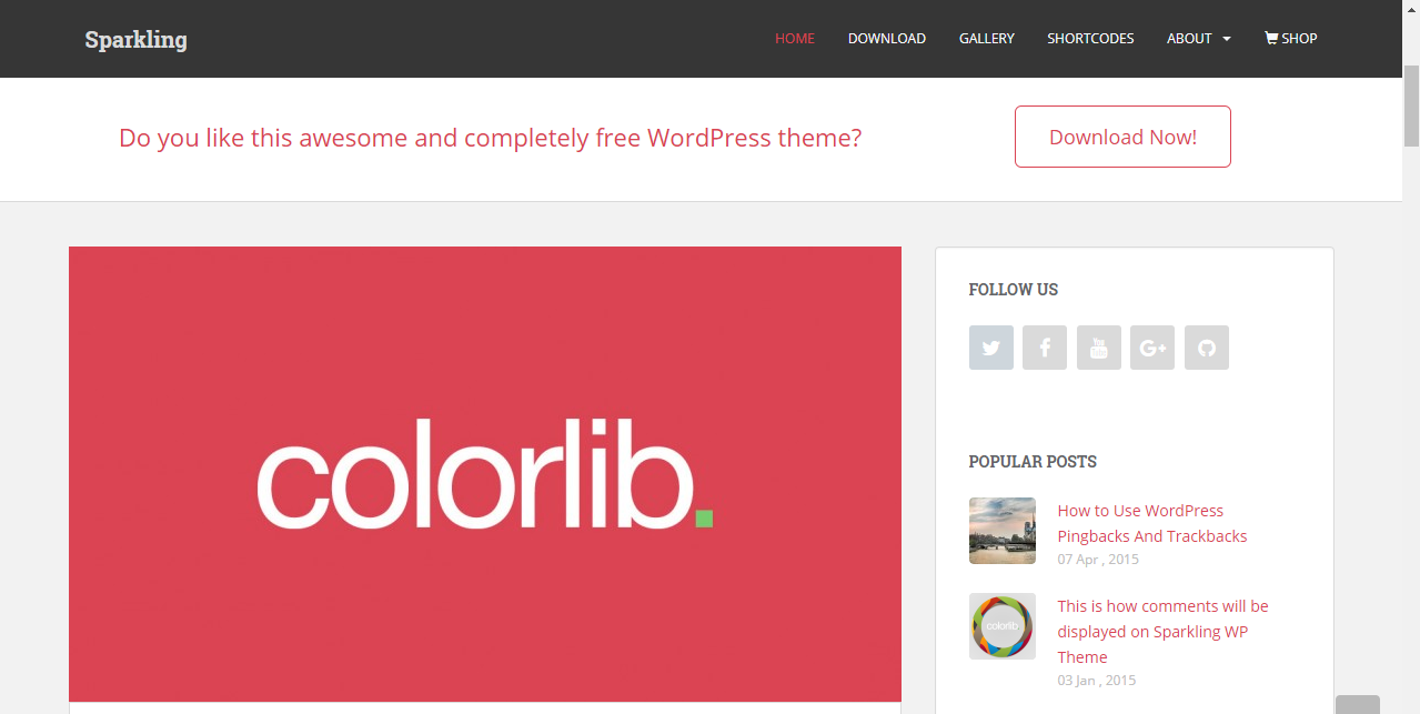 Sparkling Free Blog theme for Wordpress