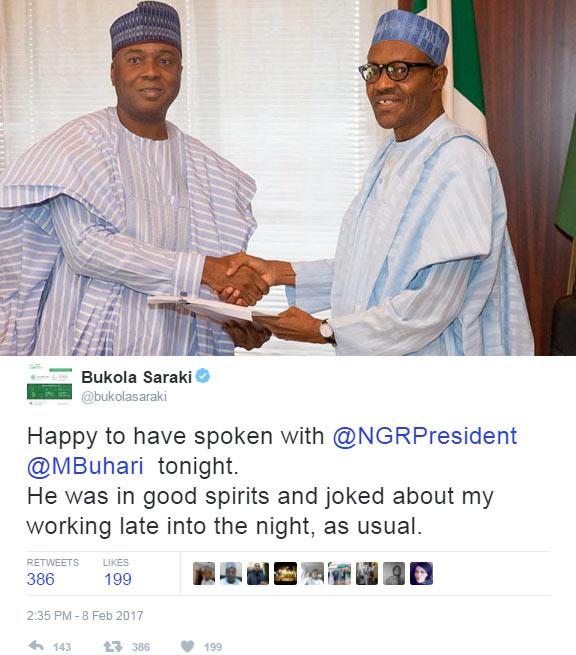 Senate president Saraki says he spoke with President Buhari