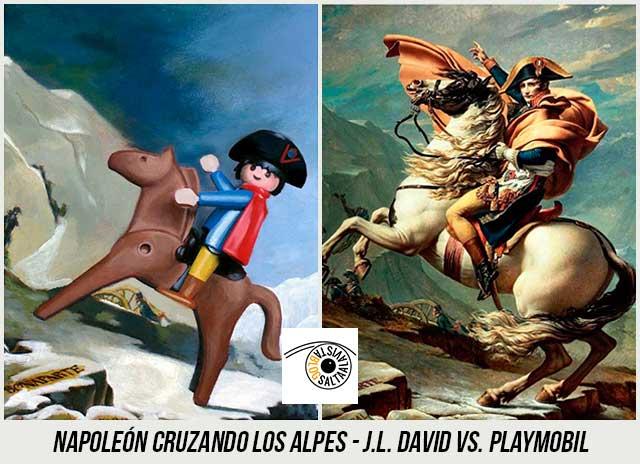 Cuadro-Napoleón-Cruzando-los-Alpes-de-Jacques-Louis-David-Hecho-con-Playmobil