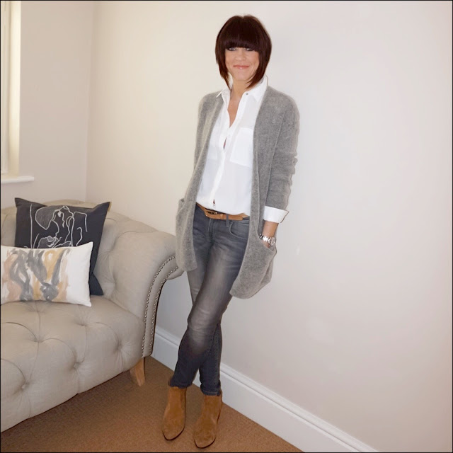 My Midlife Fashion, HM Mohair cardigan, topshop shirt, massimo dutti skinny jeans, zara cowboy ankle boots
