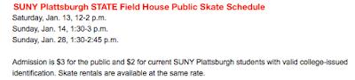 SUNY Plattsburgh January Public Skating Schedule