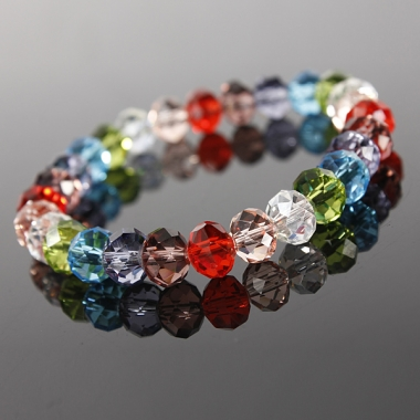 Multicolored Acrylic Crystal Beads Bracelet Stretch Elastic Handmade