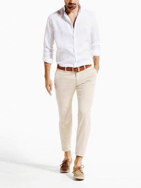 White Shirt And Beige Trouser Combination Men S Clothing