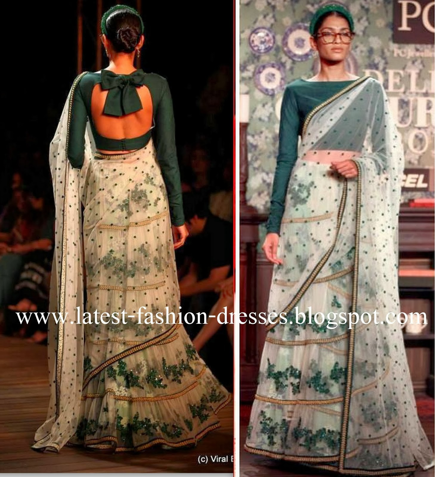 b4412a9eceb LATEST SOUTH INDIAN DESIGNER SAREE AND BLOUSE NECK DESIGNS COLLECTIONS   Sabyasachi Delhi Couture Week fashion model photos