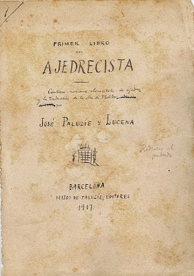 Portada del manuscrito del libro de Paluzíe Primer Libro del Ajedrecista