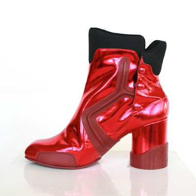 margiela red metallic boots