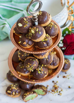 CHOCOLATE PISTACHIO PROFITEROLES