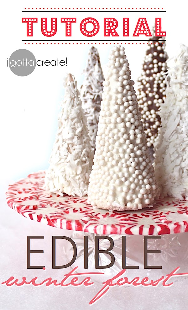 Beautiful! How to make an edible winter forest out of sugar cones. Candy holiday forest tutorial at I Gotta Create!