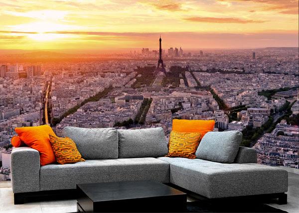 tapet romantisk stil paris tapet stad solnedgång fototapet