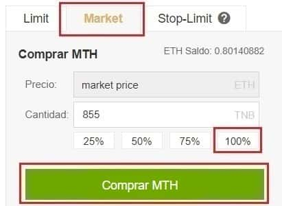 Comprar Monetha (MTH) y Guardar en Wallet