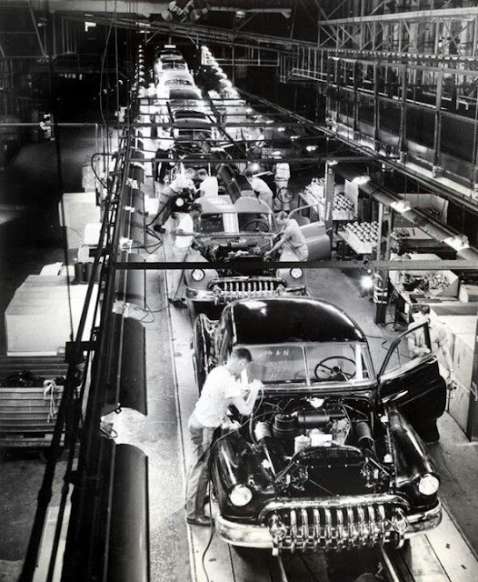 American auto assembly line 1950s Musicals on an Industrial Scale and other stories of the American Dream. marchmatron.com