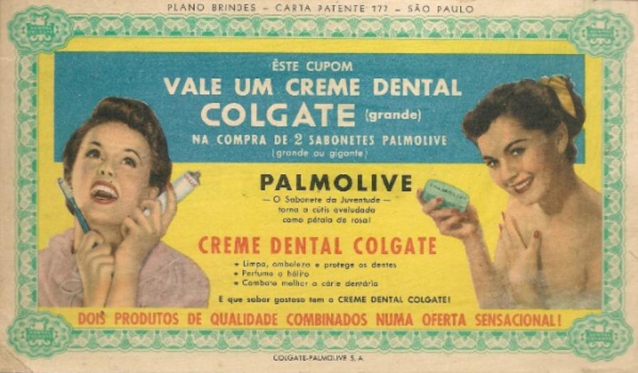 Ação promocional da Palmolive que garantia um creme dental Colgate de brinde