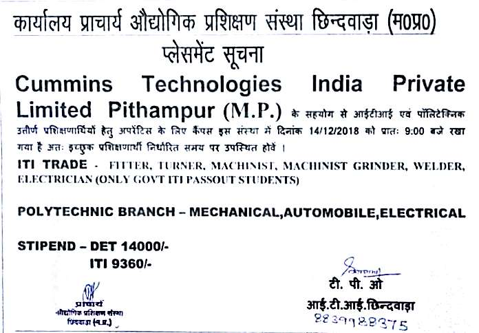 ITI And Diploma Campus Jobs Placement Interview in M.P