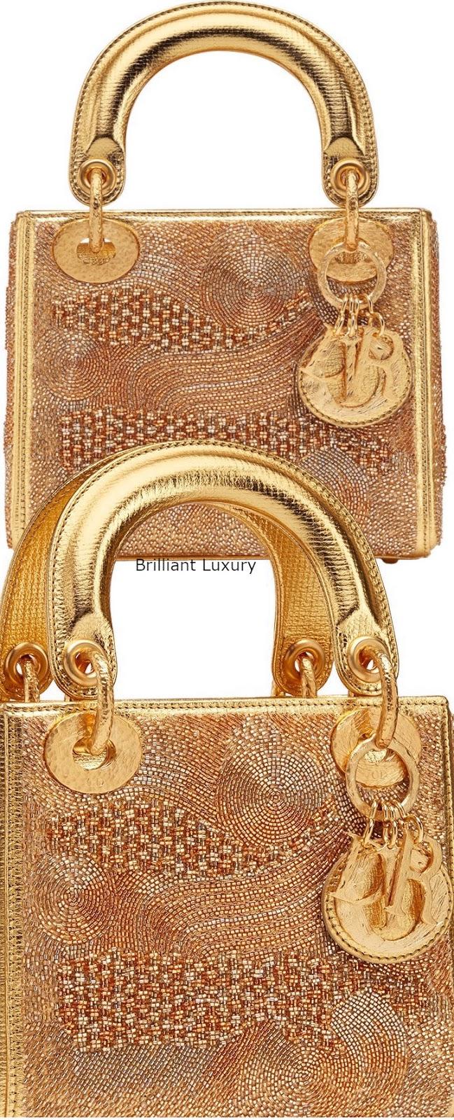 Brilliant Luxury♦Lady Dior bag, gold color textured goatskin, designer Olga De Amaral
