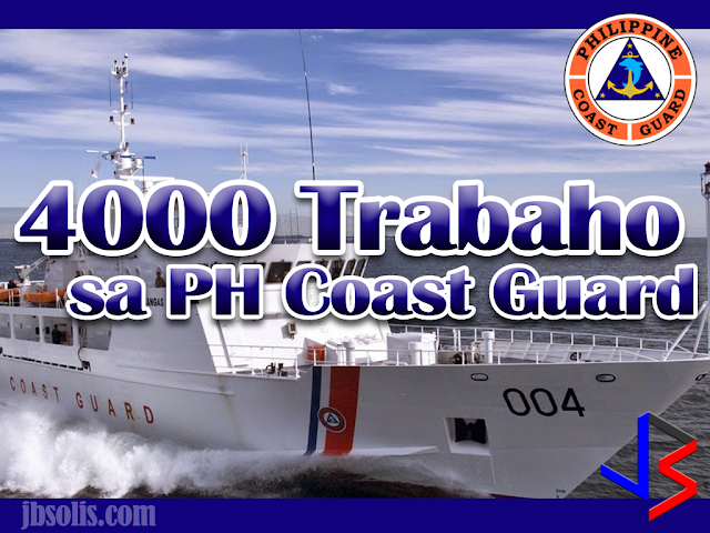 The Philippine Coast Guard (PCG) is hiring up to 4,000 new personnel to boost its patrols of the country's extensive coastline  The recruitment, which officially started last May 9, was posted in their Facebook page and their official website.  The massive hiring drive by the PCG is for officers and non-officers in diverse fields ranging from engineering to information communications technology (ICT).  This is the largest opening of applicants since the PCG was separated from the Philippine Navy in 1988. The agency currently has around 9,000 personnel covering 36,000 kilometers of coastline. The PCG decided to proceed with its hiring of 4,000 personnel after the Department of Budget and Management approved the recruitment. The PCG aptitude battery tests will be held on different dates in different Coast Guard district centers until May 28, with the last examination to be held at the PCG headquarters in Manila.  The List of Courses Accepted are the Following:  Priority Courses: Maritime Courses Deck Officer Marine Engineering Marine Transportation Naval Architect Engineering Courses B.S. Engineering Electrical Civil Electronics and Communications Geodetic Mechanical Petroleum Sanitary Computer-Related Courses AutoCAD Operator BS Information Technology BS Computer Science Software Technology Network Engineering Computer Systems Engineering Computer Technology Environmental Science Courses BS Biology BS Chemistry BS Marine Biology Environmental Science TESDA Courses Welding Plumbing Carpentry Machinist Mechanic Automotive  Other Courses: Aircraft Technician BS Accountancy and other related courses BS Architecture Bachelor of Arts Major in English Bachelor of Arts Major in Management Bachelor of Arts Major in Political Science Bachelor of Arts in Mass Communication Dental Laboratory Technician Electrical Technology Rad Technician and Dental X-Ray Technician Radio Radar Technician Library Science or similar courses Secretarial Course (Stenography)  Applicants should have