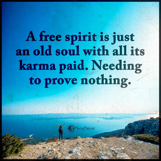 A Free Spirit Is Just An Old Soul With All Its Karma Paid Needing