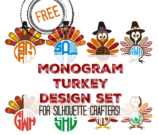 free monogram turkey set silhouette cut files and designs