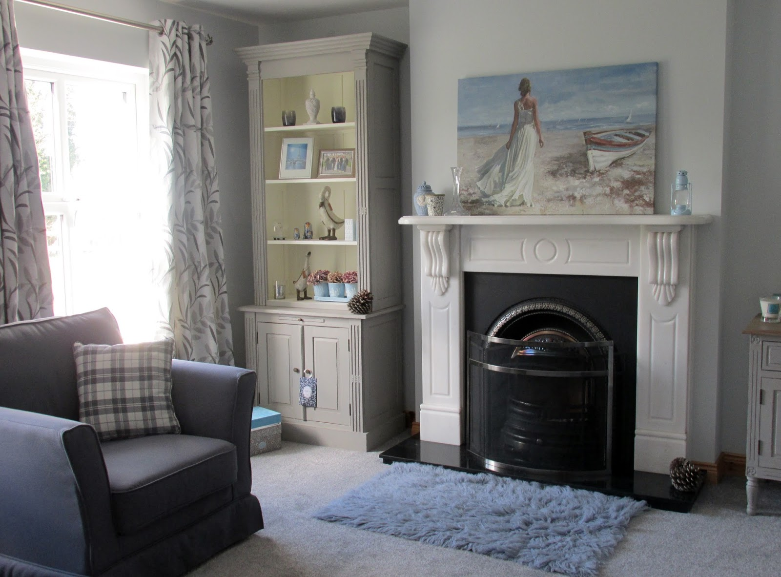 A Blue Grey And White Living Space