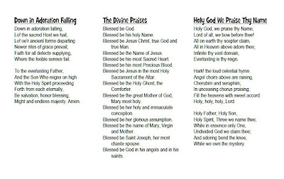 adoration of the blessed sacrament with hymns lyrics
