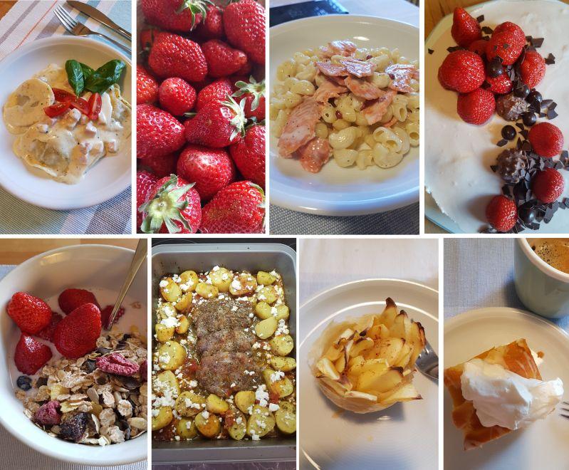 Im Mai auf unserem Tisch: Erdbeeren, Kuchen und Nudeln