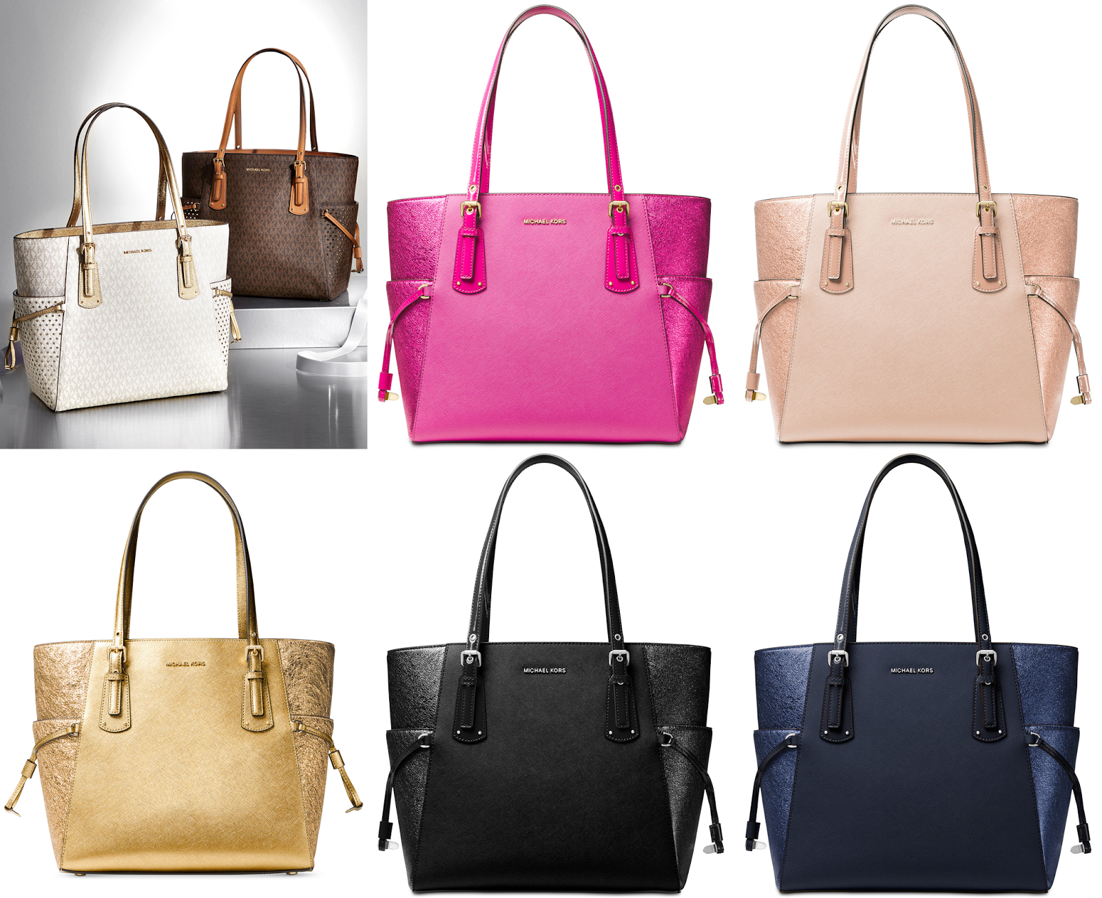 a8552985eadcea ... low cost 198 free ship michael michael kors signature voyager east west  signature tote 43739 fd12b