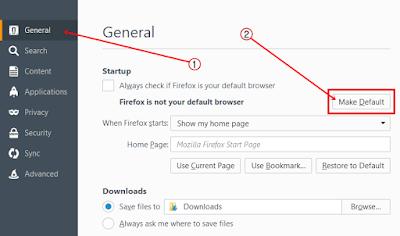 Setting Mozilla Firefox Menjadi Default