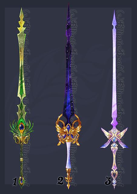 Acredito que personagens do sexo feminino adorariam ter ter uma espada como estas.