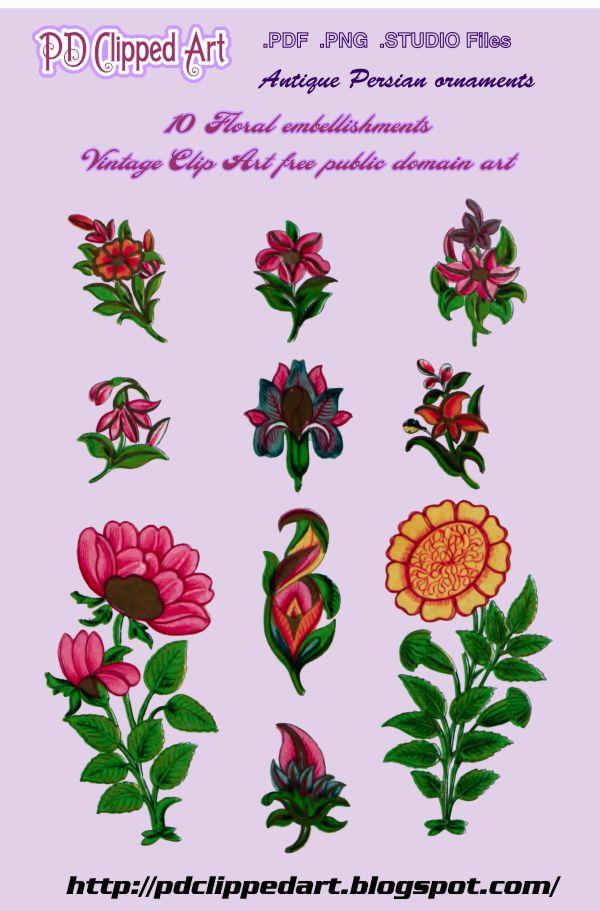 Public Domain Clipped Art: 10 Floral embellishment Vintage