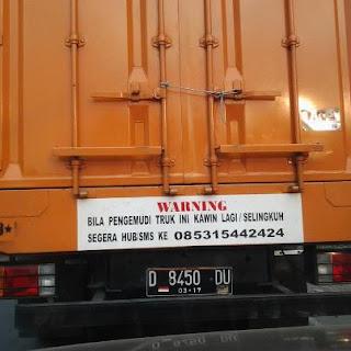 Gambar DP Bbm Tulisan Belakang truk kawin lagi selingkuh