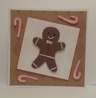 Gingerbread man Christmas card with candy canes