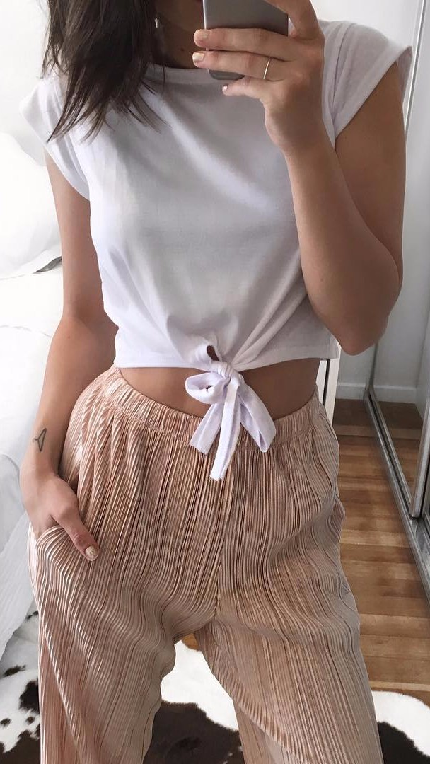 all neutral shades: white crop top + high waist