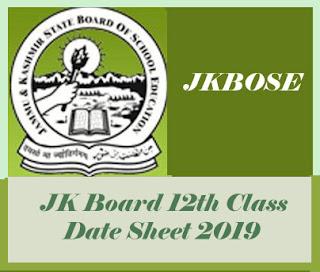 JK Board 12th Class Date Sheet 2019, JK Board Date Sheet 2019, JK Board 12th Date Sheet 2019, JK Board Date Sheet