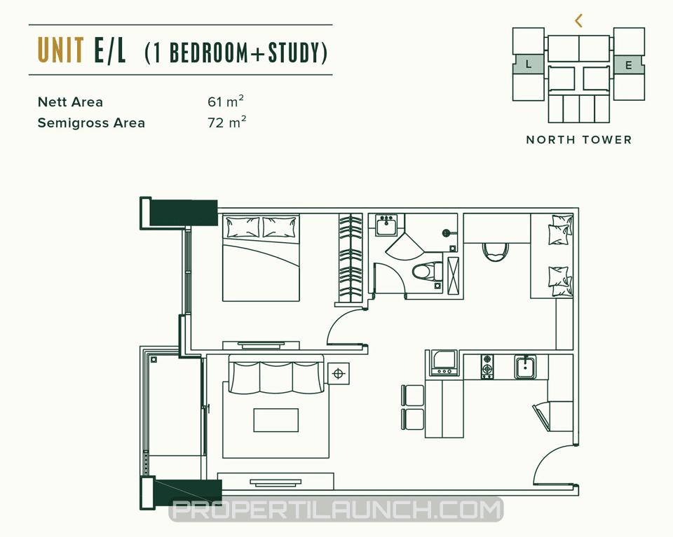 Unit A/D 1BR Apartemen Southgate Jakarta