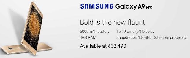 Samsung Galaxy A9 Pro | 4GB RAM + 32GB ROM