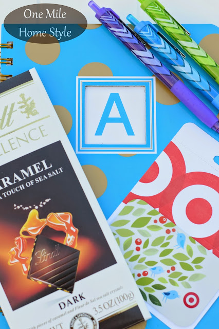 A+ Teacher Appreciation Gift | One Mile Home Style - polka dot journal, pens, lindt chocolate, Target gift card