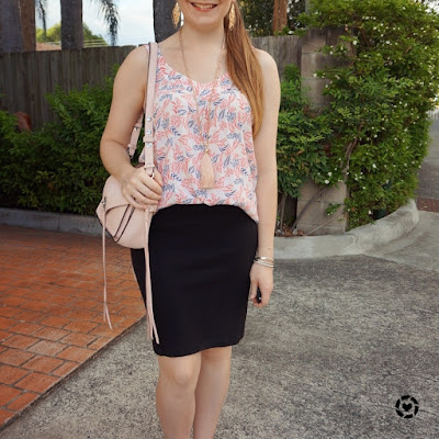 awayfromtheblue instagram | summer office style with printed tank pencil skirt rebecca minkoff small darren messenger
