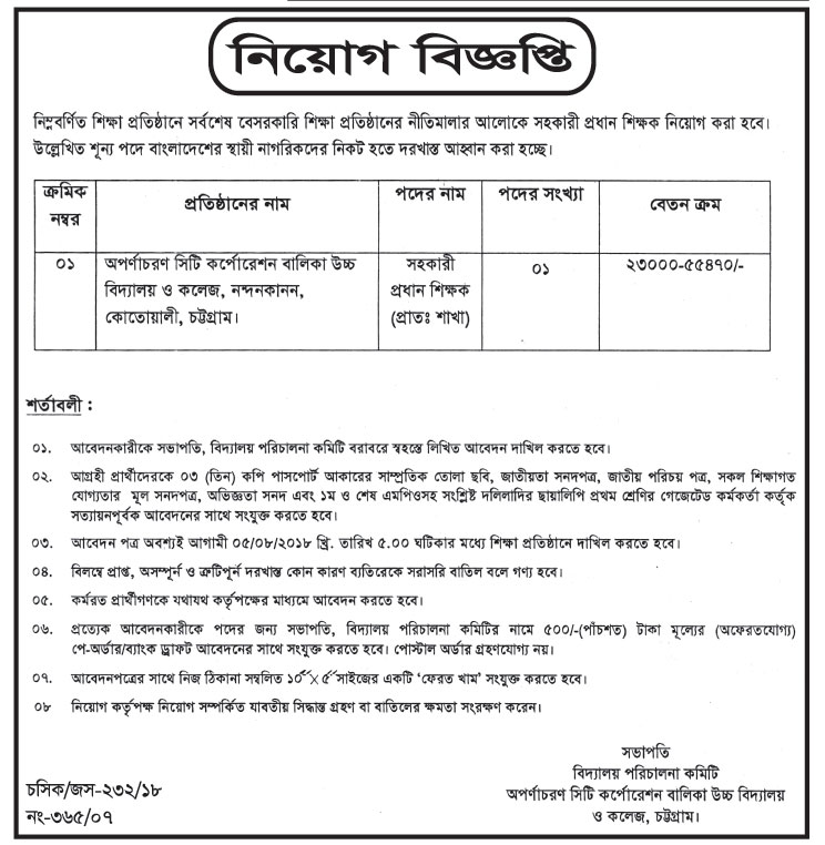 Chittagong City Corporation Assistant Teacher and Principal