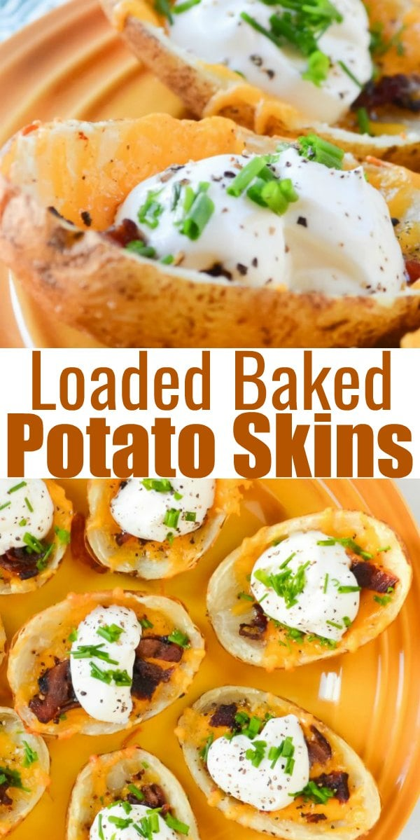 A favorite east Potato Skin Appetizer loaded with melted cheese, crispy bacon, sour cream, and chives for an easy appetizer recipe perfect for Game Day from Serena Bakes Simply From Scratch.