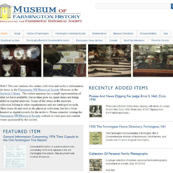 From the Curator-The #Museum of #Farmington #NH #History
