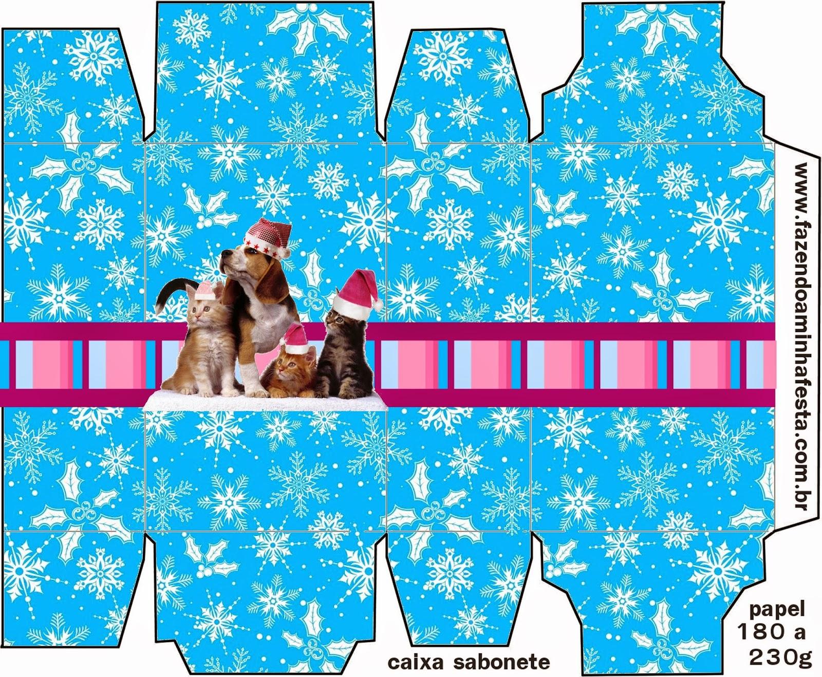 Caja para Imprimir Gratis de Perro y Gato en Navidad.