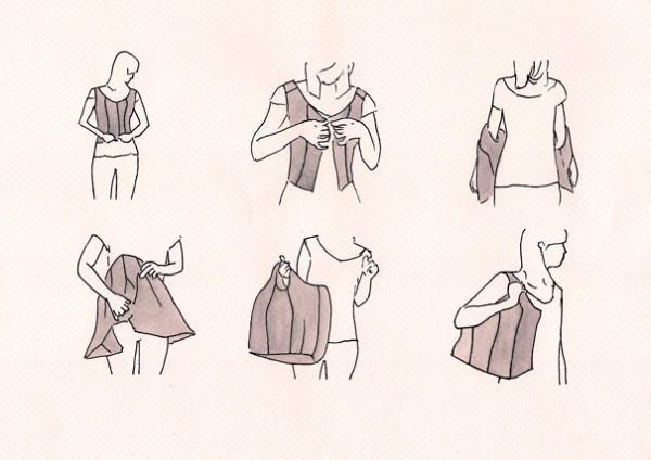 chaleco, bolsa, transformable, fashion