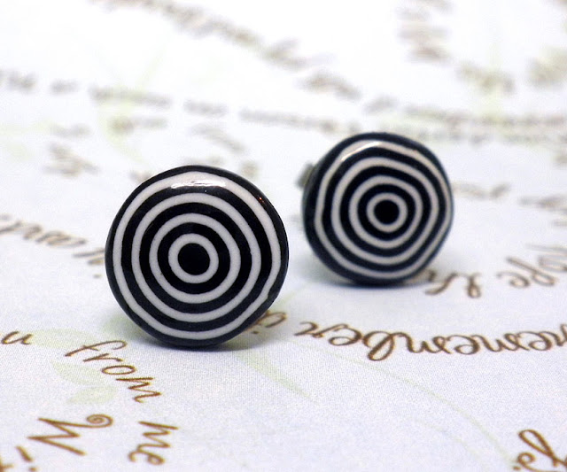 Polymer clay black and white earrings