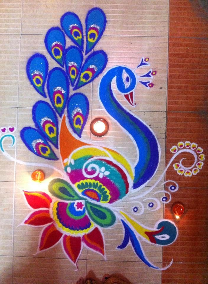 Art and Colours In Life: Peacock Rangoli